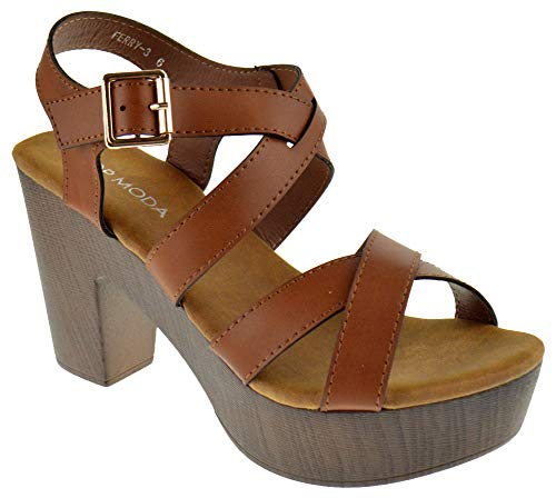 Top Moda Ferry 3 Womens Chunky Heel Strappy Slingback Open Toe Faux Wood Platform Dress Sandals Tan 9