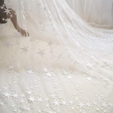 Fabric - Star Embroidered Lace Organza Fabric Mesh Gauze Wed