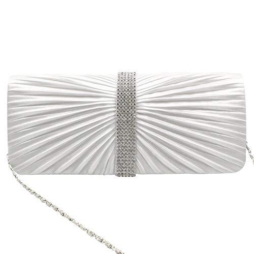 Evening Crystal Medallion Bagwhite white Handheld Pleated Clutch Wiwsi Satin Elegant Center xtIfTw0nq7