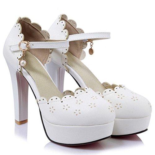 1644c121926 COOLCEPT Zapatos Moda Al Tobillo Dedo Del Pie Cerrado Tacon Alto Bombas  Zapato Sandalias Dulce Lace Floral Plataforma Mujer Blanco