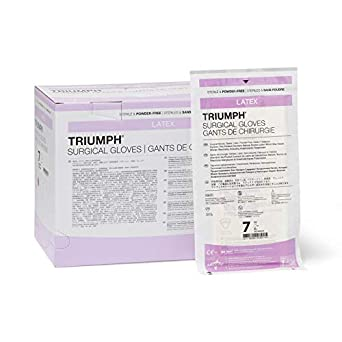 Medline MSG2270 Triumph Sterile Powder-Free Latex Surgical Glove, Size 7,  White (Pack of 200)