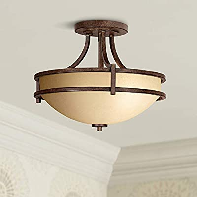 """Oak Valley Collection 18"""" Wide Scavo Glass Ceiling Light - Franklin Iron Works"""