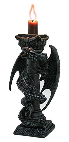 Gothic Fantasy Kerzenleuchter Drachen Kerzenhalter Wächter des ewigen Feuers