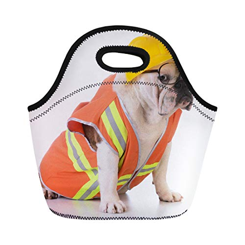 Semtomn Neoprene Lunch Tote Bag Orange Working Dog Bulldog Dressed Up Like Construction Worker Reusable Cooler Bags Insulated Thermal Picnic Handbag for Travel,School,Outdoors,Work]()