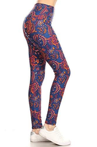 LY5X-S631 Fern Blossoms Printed Yoga Leggings, Plus - Printed Fern