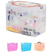 AB SALES Transparent Plastic Organizer Jewelry Craft Accessories Storage Box/Basket/Container with Collapsible and Removable Dividers- Multi Colour