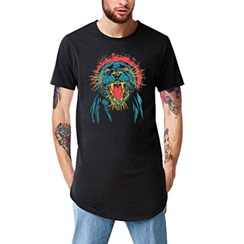 Xlala Mens T Shirts Tiger Head Embroidery Printing Extended Long Short Sleeve Casual Crew Neck Hipster Hip Hop Tees (L)