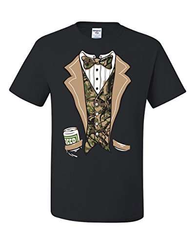 (Tuxedo With Bow Tie Camo Hunting Funny Humor Tee Graphic Unisex T-Shirt - ( X-large, Black ))
