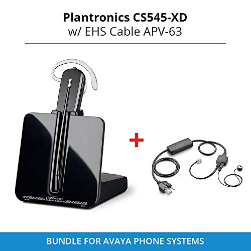 Plantronics Cs 545-XD Wireless Headset System with EHS Cable APV-63, Bundle for Avaya Phone Systems