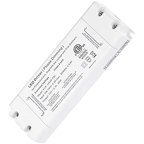 25W Dimmable Driver LED Power Supply - ETL 12V DC Dimming LED Drivers Transformer Compatible with Lutron, Leviton and More for LED Strip Lights