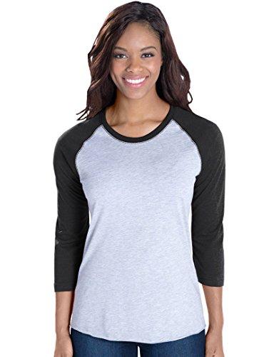 LAT Apparel Womens Vintage Fine Jersey Baseball T-Shirt, Vintage Heather/Vintage Smoke, Small