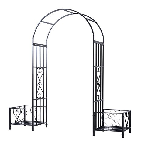 Outsunny Decorative Metal Backyard Garden Arch with Planter Boxes