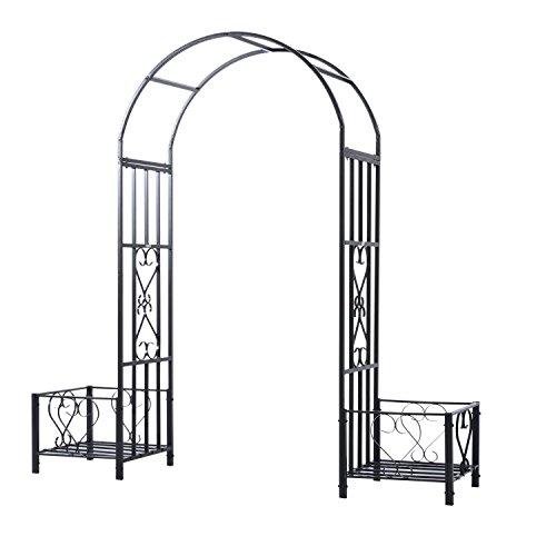 (Outsunny Decorative Metal Backyard Garden Arch with Planter Boxes)