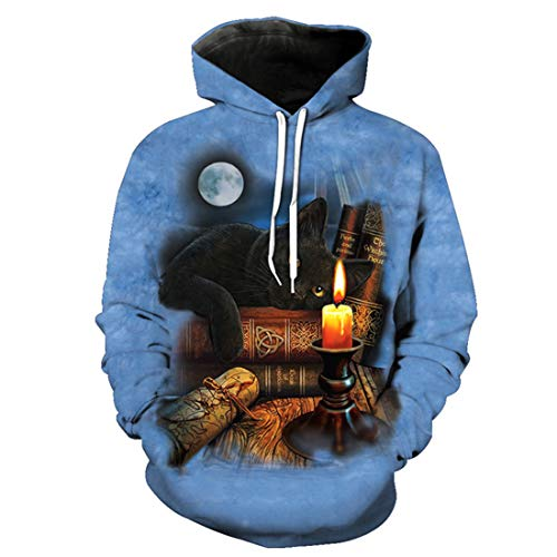 (Bookcase Black Scholar Cat Fashion Hooded Sweatshirt Autumn)