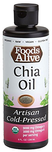 - Foods Alive  Chia Seed Oil, Artisan Cold-Pressed, Organic, 8oz