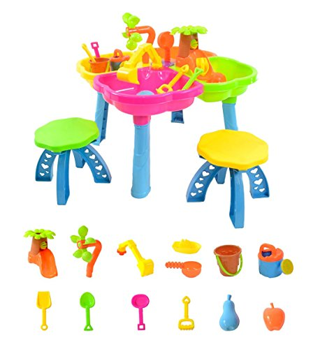 boppi 4-Section Childrens Sand and Water Table with 13 Play Accessories & 2 Stools by boppi