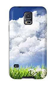High Quality Sky And Flowers Case For Galaxy S5 / Perfect Case