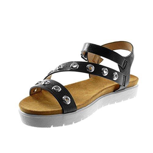 Angkorly Zapatillas Moda Sandalias Correa de Tobillo Suela de Zapatillas Mujer Perforado cocodrilo Multi-Correa Tacón Plano 3 cm Negro