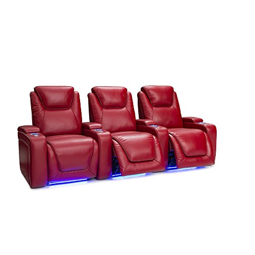 Seatcraft Equinox Home Theater Seating Power Recline Leather (Row of 3, (Home Movie Theater Chairs)