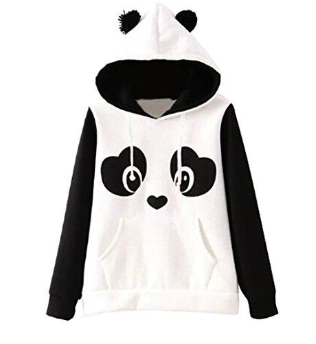 [해외]세인트 Jubileens 여성 귀여운 팬더 인쇄 흰색과 검은 색 양털 까마귀 스웨터 탑스 풀 오버/St. Jubileens Women`s Cute Panda Print White and Black Fleece Hoodie Sweatshirts Tops Pullover
