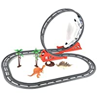 Train Track Set Toy with 31 Pieces Flexible Train Tracks Set Dinosaur Theme