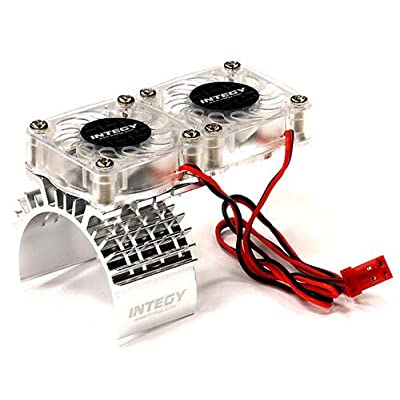 Integy RC Model Hop-ups T8534SILVER Motor Heatsink + Twin Cooling Fan for Traxxas 1/10 Slash 4X4 (6808): Toys & Games
