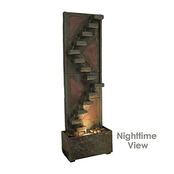Sunnydaze Descending Staircase Slate Outdoor Water Fountain - Large Garden & Backyard Waterfall Fountain Feature with Copper Accents & LED Light - 48 Inch Tall - LARGE & STURDY STRUCTURE: Large outdoor water fountain weighs 82.2 pounds, so it won't tip over easily outside in the wind, and measures 16 inches wide x 8 inches deep x 48 inches tall SOOTHING WATER SOUNDS: Sit back, relax, and enjoy the soothing and peaceful sounds this outdoor fountain produces as water gently trickles down the descending staircase design on the garden fountain and recirculates back up BEAUTIFUL & ATTRACTIVE DESIGN: Patio water fountain is made from natural slate material with copper accents to highlight and bring beauty to your outdoor space; The copper face of the backyard water fountain will take on an appealing patina finish over time - patio, outdoor-decor, fountains - 41nPXDWwgvL. SS570  -