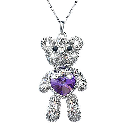Pendant Necklace with Swarovski Crystals Teddy Bear Love Heart Charm Rhodium Plated Chain Length 16.5+2.0 Extender - Jewelry Gifts for Women Girls Teen Kids Princess Daughter Granddaughter