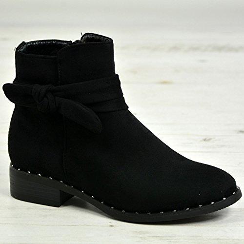 Cucu Modemärke Nya Kvinna Damer Boots Dubbade Båge Zip Faux Mocka Låga Klackar Kontors Skor Storlek Svart