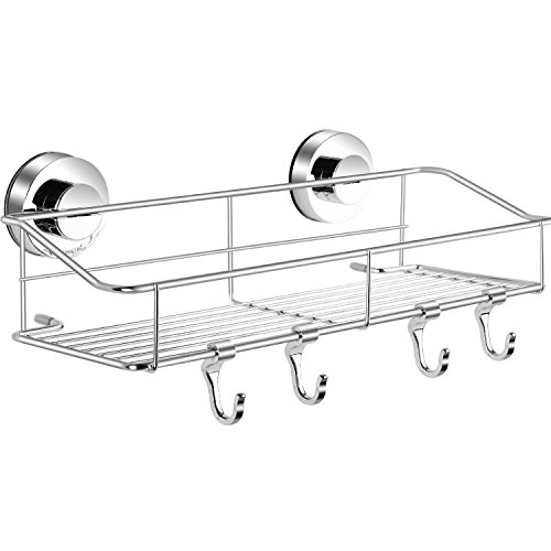 Haundry Suction Cup Shower Caddy Basket, Bathroom Corner Shower Shelf Organizer Stainless Steel with 4 Removable ()