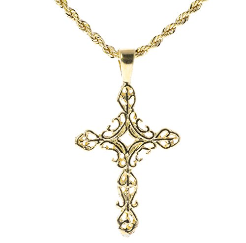 Filigree Cross Pendant & 22 inch Rope Chain 18K Gold overlay GFR5 (Gold Filigree Cross Necklace)