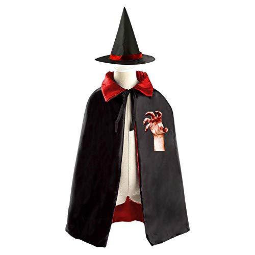 69PF-1 Halloween Cape Matching Witch Hat Hand of Death Wizard Cloak Masquerade Cosplay Custume Robe Kids/Boy/Girl Gift -