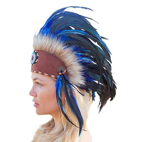 (Novum Crafts Feather Headdress   Native American Indian Inspired   Blue)