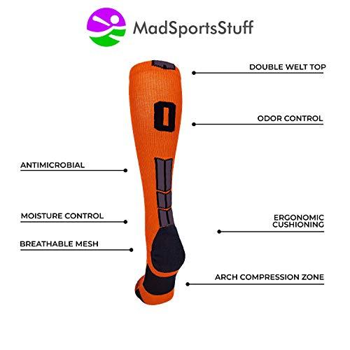 MadSportsStuff Orange/Black Player Id Over the Calf Number Socks (#24, Medium) by MadSportsStuff (Image #3)