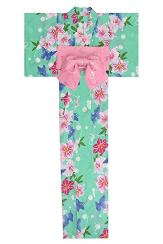 悪性知る悪性KimonoMode24 Women's Japanese Yukata And Easy Wearing Obi Set/ Flower and Butterfly Pattern Free Size Green