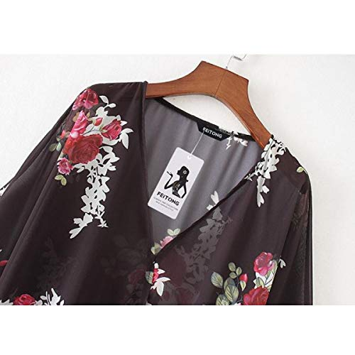 OTINICE Women's Chiffon Kimono Cardigans Floral Puff Sleeve Casual Loose Swimwear Cover ups Black by OTINICE (Image #4)