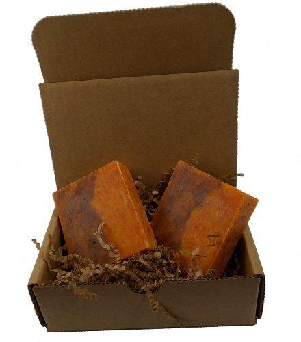 Bay Rum Soap - All Natural, Vegan, Handmade Soaps for Men / 2 Bars Orange Rough Touch Hand Cleaner