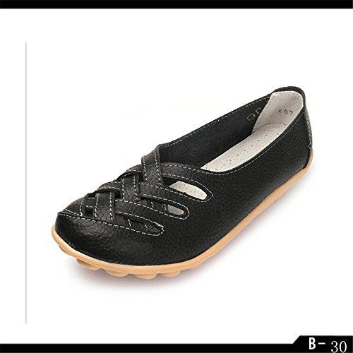 Shoe Profondo Sandali Solido QXH Rotonda QXH di Bocca Poco Donna Testa Piatta nero Shop Colore Cuoio dxq6n7S4