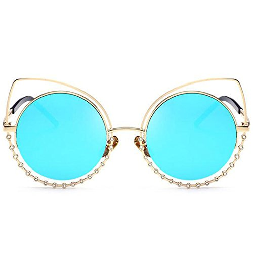 GAMT Womens Fashion Round Sunglasses Cat Eye Metal Frame Cut Out Flash Mirror Lens - Sunglasses Designer Wholesale Replica
