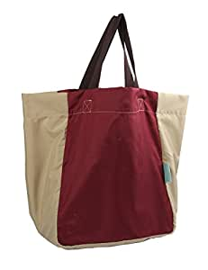 iSuperb Foldable Shoulder Tote Lightweight Waterproof Roomy Big Bag Handbag for Travel Shopping Outdoor (Wine)