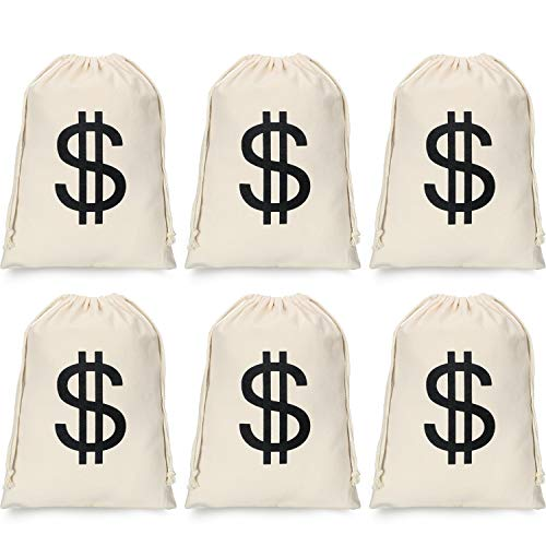 6 Pieces Dollar Sign Money Bag Canvas Drawstring Bag Halloween Cosplay Bag for Halloween Cosplay Party Supplies (11.8x15.7inch)