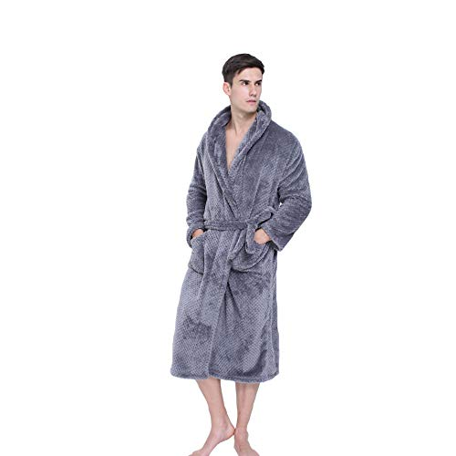 Albornoz Para 1pcs Pareja Bata Darkgray Pijamas Gruesa El Unisex Hogar Largo 65AqxqwSa