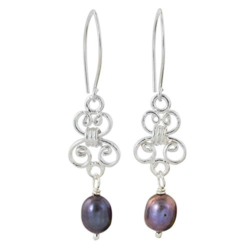 (NOVICA Dyed Gray Cultured Freshwater Pearl .925 Silver Dangle Earrings, 'Enchanted Wind in Grey')