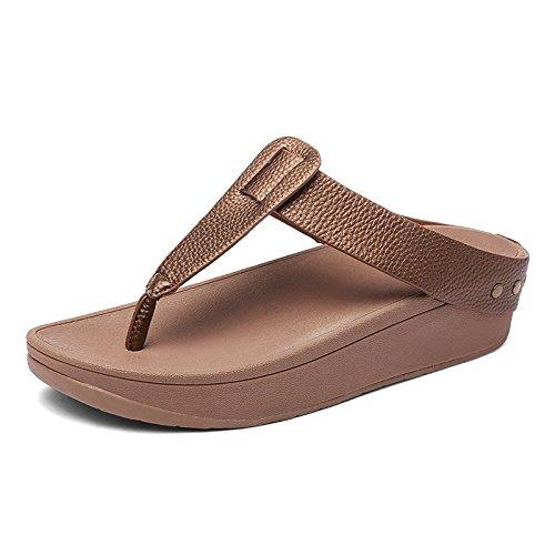 NVXIE Zapatillas Ligero Antideslizante Sandalias Aumentar Amortiguación De Moda Aire Libre Zapatos de Playa Khaki