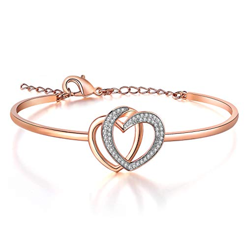 MUATOGIML Double Love Heart Rose Gold Plated Charm Bracelet, Romantic Jewelry Gift for Her Women Girls Girlfriend