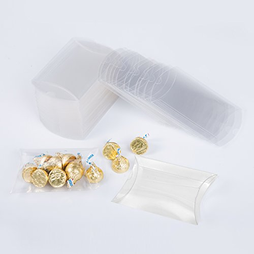 - MOWO Clear Plastic Pillow Box 4.7x1x3 inch Gift Candy Treat Transparent Packing Box Party Favors 50pc