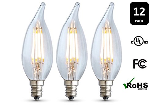 12-Pack ARCHIPELAGO Dimmable LED Filament Candelabra (CA10) Light Bulb, Clear Glass, 2 Watt, Candelabra Base (E12), 2400K (Soft White), Omnidirectional, UL Listed