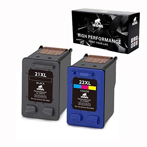IKONG Remanufactured Ink Cartridge for HP 21 & HP 22, 1Black+1Tri-Color,Work with HP OFFICEJET 4315 3680 DESKJET 3210 3930 3915 3920 D1520 D1455 D1341 F300 D1430 F4180 F4140 PSC 1410 1417 1401 1415 ()
