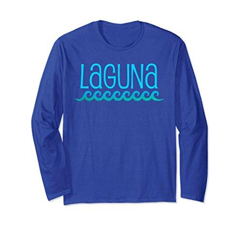Laguna Long Sleeve (Unisex Laguna Beach Long Sleeve T-Shirt Waves Surf Tee Shirt Medium Royal Blue)