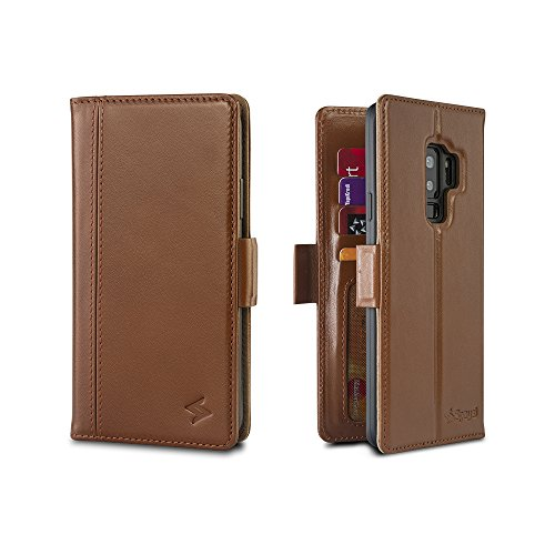 Spaysi Samsung Galaxy S9 Plus Wallet Case Leather Flip Case for S9 Plus Leather Case Genuine Magnetic Closure S9 Plus Case with Credit Card Slots Holder Case for S9 Plus RFID Wallet Case (Cognac) by Spaysi